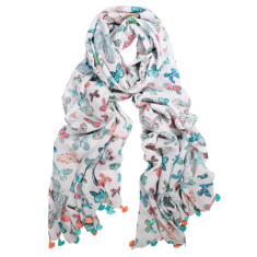 Butterfly pure cotton digital print pom pom scarf