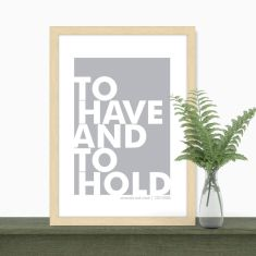 Personalised scandi style wedding vow print (various colours)