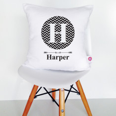 Monogram personalised cotton cushion cover (various colours available)