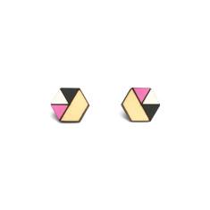 Hexagon geometric earrings in black, neon purple, white