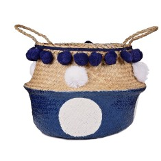 Seagrass belly basket in Navy Blue & White Polka Dot