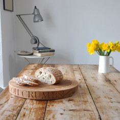 Personalised Oak Slatted Bread Board (round)