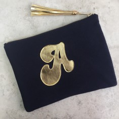 Monogram Jersey and Metallic Clutch Zip Pouch