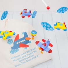 Wooden Aeroplanes Mobile And Personalised Bag
