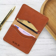 Monogrammed Tan Leather Card Wallet
