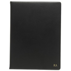Monogrammed Black Leather A5 Notebook w/ Gold Emboss