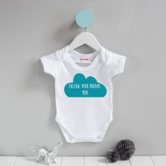 Personalised Follow Your Dreams Cloud Babygrow