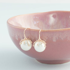 Rose gold and pearl tentacle earrings