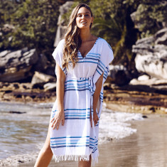 Cala rossa kaftan in white & blue