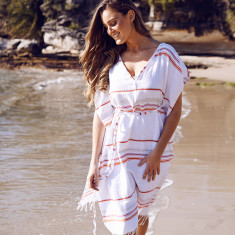 Cala rossa kaftan in white and fuchsia