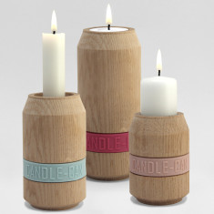 Danish Candle-Can natural oak candle holders (set of 3)