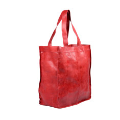 Capri leather shopper in cherry