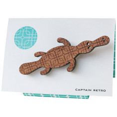 Captain retro platypus engraved brooch