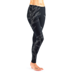 Wattle on black cotton leggings