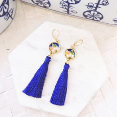Japanese chiyogami and silk cobalt blue tassel leverback earrings