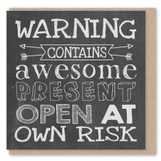 Chalkboard warning mini card (3 pack)