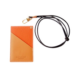 Handmade leather card holder in orange