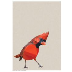 Geometric red cardinal art print