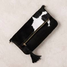 Carolina clutch in black and white cowhide