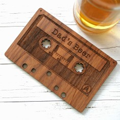 Personalised wooden cassette coaster