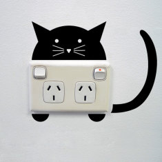 Cat wall sticker for power points