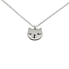 Cat face sterling silver necklace
