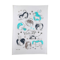 Cat's life tea towel