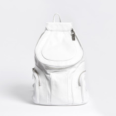 Caution white leather backpack
