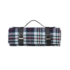 Picnic blanket in blue & red with waterproof backing & straps