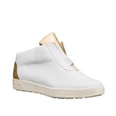 Kush Leather High-Top Sneakers In White and Gold