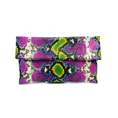 Fuchsia lemon lime motif python leather classic foldover clutch