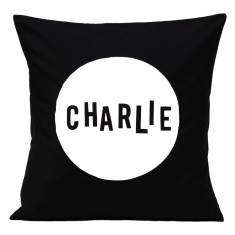 Personalised name cushion in black