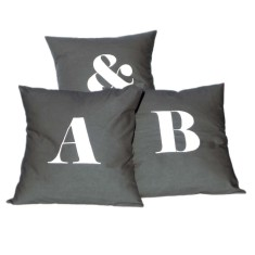 Set of 3 personalised alphabet cushion covers (various colours)