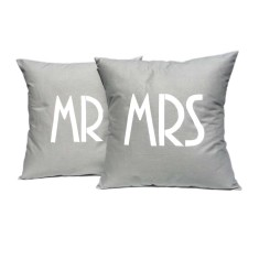 Mr and Mrs handmade cushion cover (set of 2)