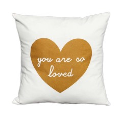 You are so loved handmade cushion cover with gold print