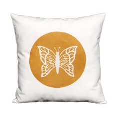 Butterfly handmade cushion cover with metallic print