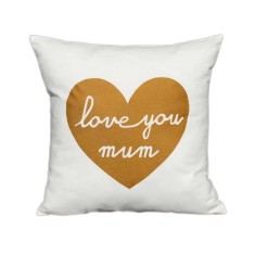 Love you mum handmade cushion cover with gold print