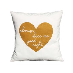 Always kiss me good night handmade cushion cover with gold print