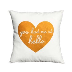 You had me at hello handmade cushion cover with gold print