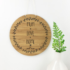 Mum + Love = Home bamboo personalised wall hanging