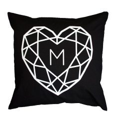 Jewelled Heart Initial Personalised Cushion Cover