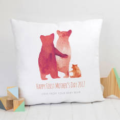 Personalised First Mother's Day Bear Family Cushion