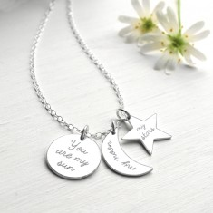 Personalised sterling silver sun, moon and stars necklace
