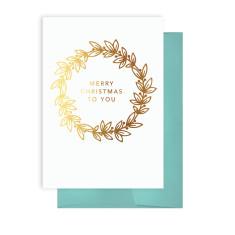 Gold Christmas Wreath card