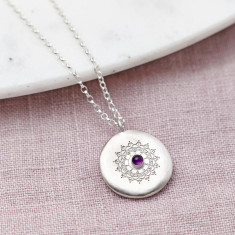 Personalised Silver And Amethyst Necklace