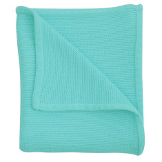 Wave knit luxury cotton baby blanket in lagoon