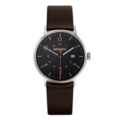 Silver 39mm case with ebony brown leather band