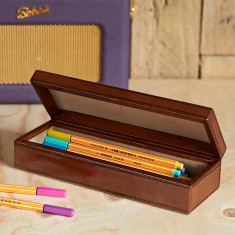 Leather oblong pen box