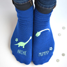 Personalised Mummy And Me Dinosaur Socks