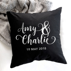 Personalised Couple's Metallic Silver And Black Cushion